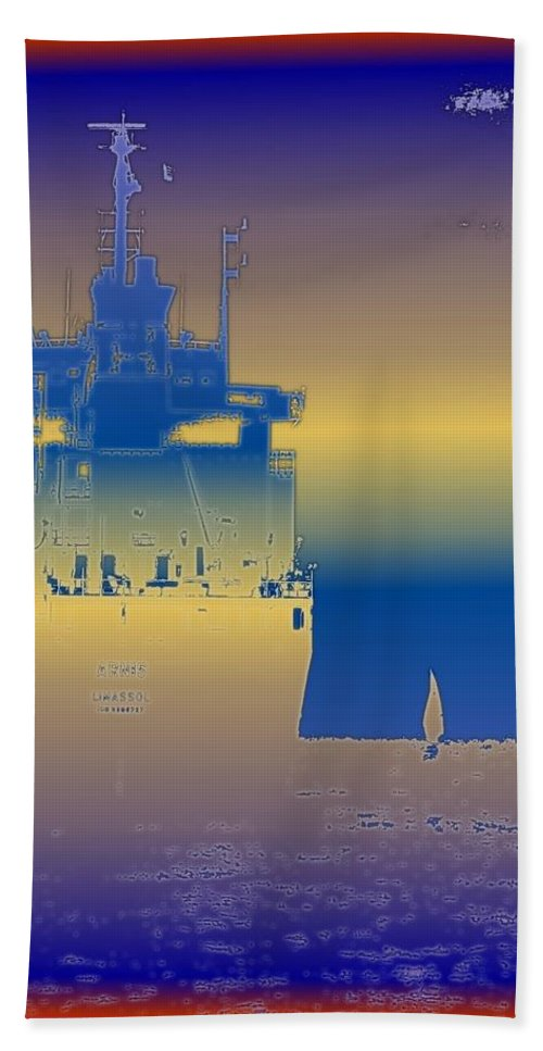 Puget Sound Bath Towel featuring the photograph Container Sail 3 by Tim Allen