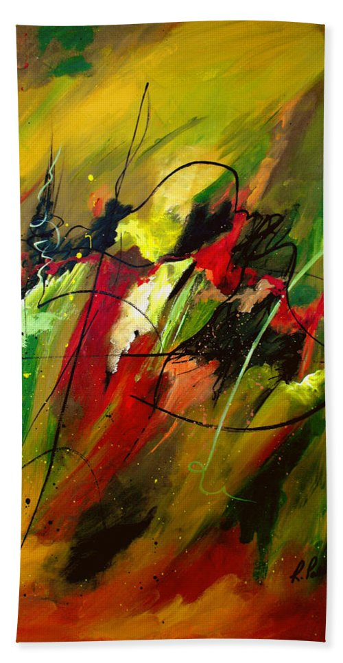 Abstract Hand Towel featuring the painting Contemplating Perseverance by Ruth Palmer