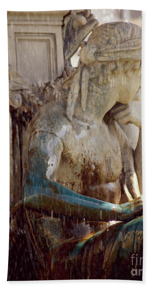 Photograph Of A Statue - Fountain In Portugal Bath Sheet featuring the photograph Contemplation by Kym Williams-Ali