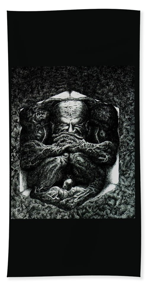 Dark Bath Towel featuring the drawing Contemplation by Tobey Anderson