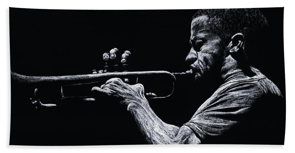 Musician Bath Sheet featuring the pastel Contemporary Jazz Trumpeter by Richard Young