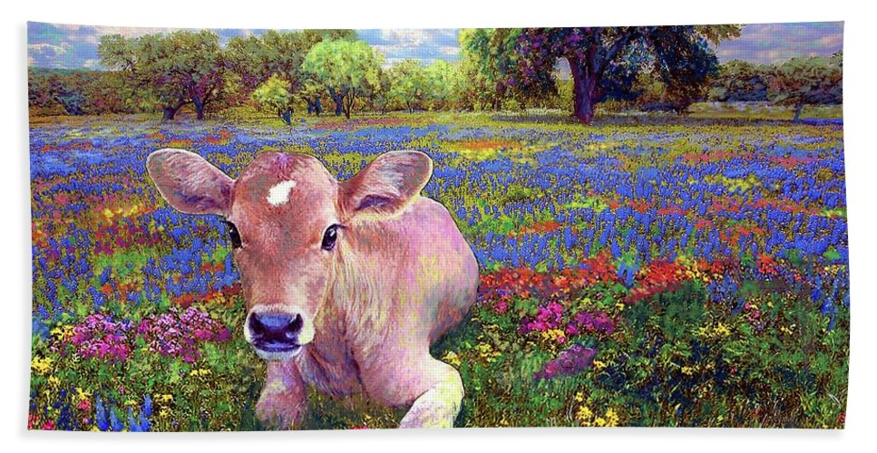 Meadow Hand Towel featuring the painting Contented Cow In Colorful Meadow by Jane Small