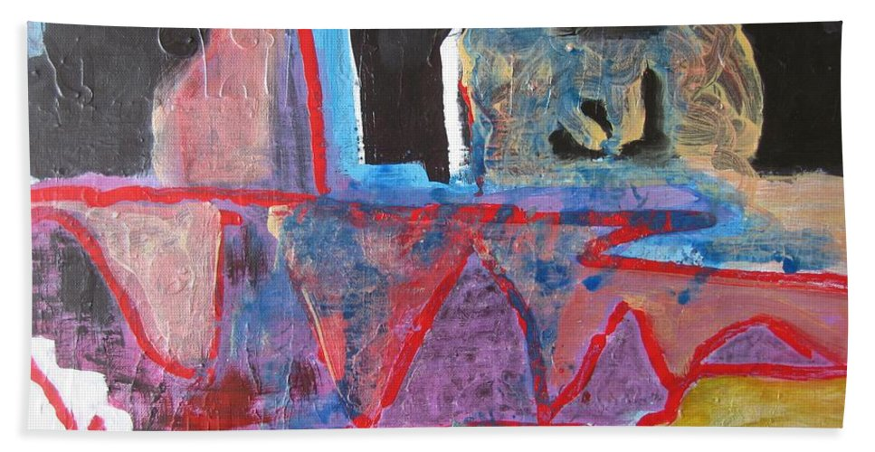 Abstract Paintings Bath Towel featuring the painting Contradiction Of Time by Seon-Jeong Kim