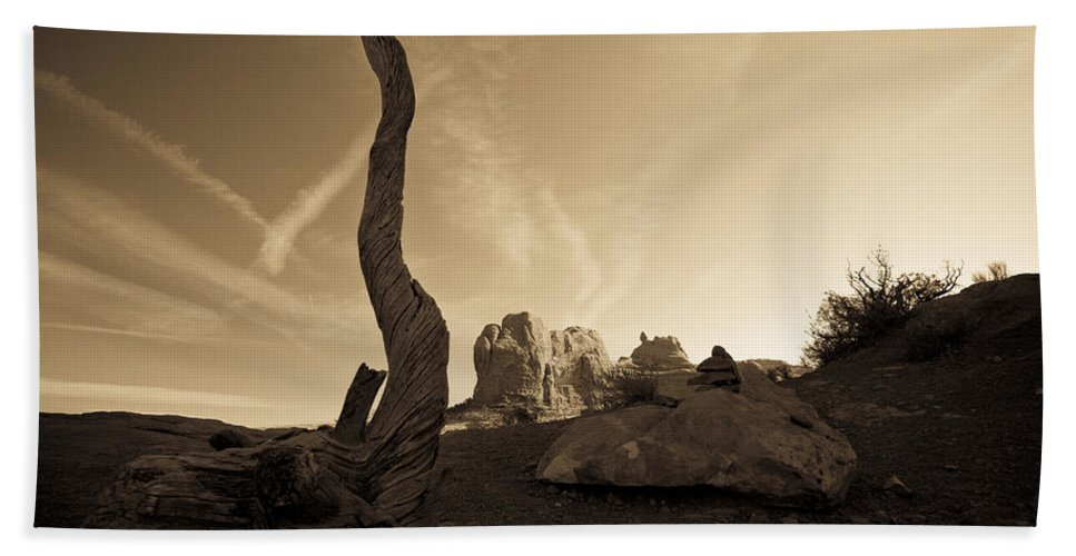 Contrails Bath Sheet featuring the photograph Contrails And Driftwood by Marilyn Hunt