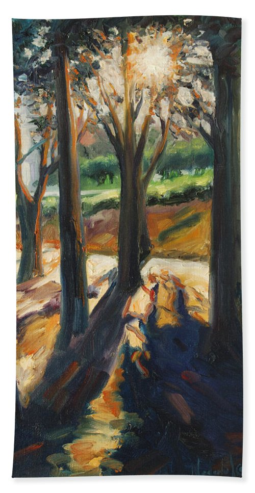 Trees Bath Towel featuring the painting Contrast by Rick Nederlof