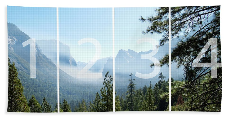 El Capitan Hand Towel featuring the digital art Controlled Burn Of Yosemite Panoramic Map by Michael Bessler