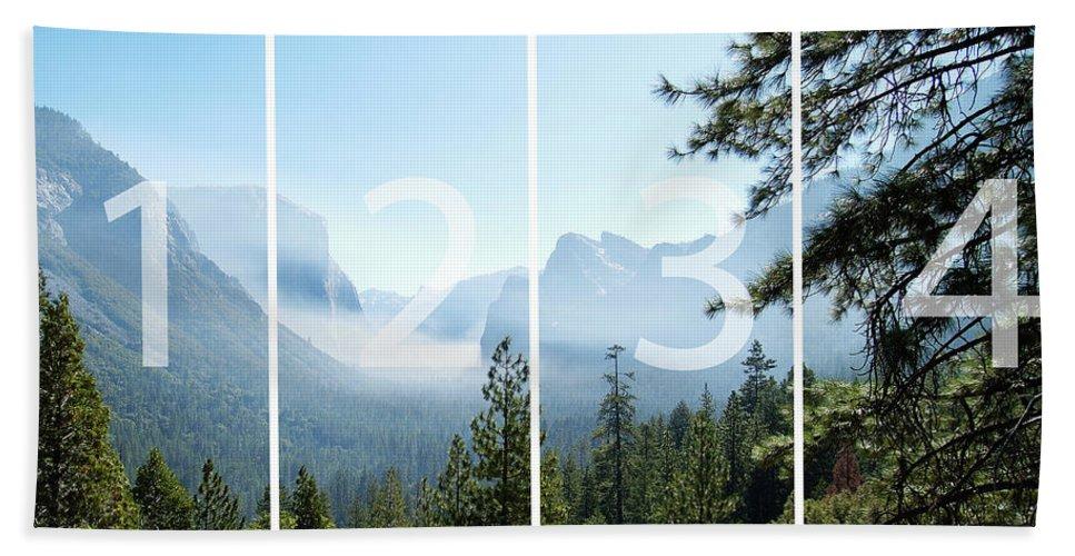 El Capitan Bath Sheet featuring the digital art Controlled Burn Of Yosemite Panoramic Map by Michael Bessler