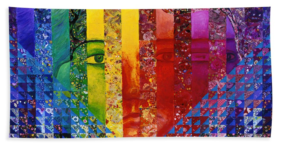 Colorful Bath Sheet featuring the mixed media Conundrum I - Rainbow Woman by Diane Clancy