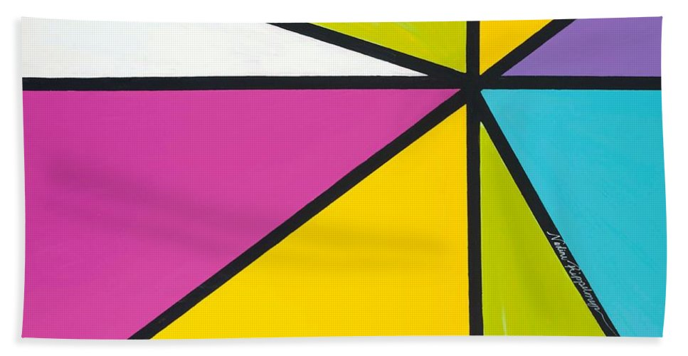 Lines Bath Towel featuring the painting Convergence by Nadine Rippelmeyer
