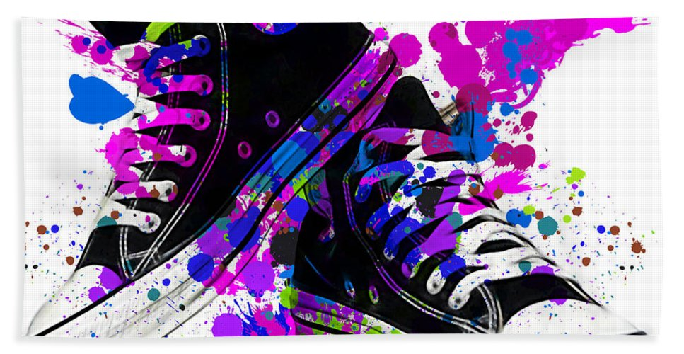 Converse Hand Towel featuring the mixed media Convers All Stars by Marvin Blaine