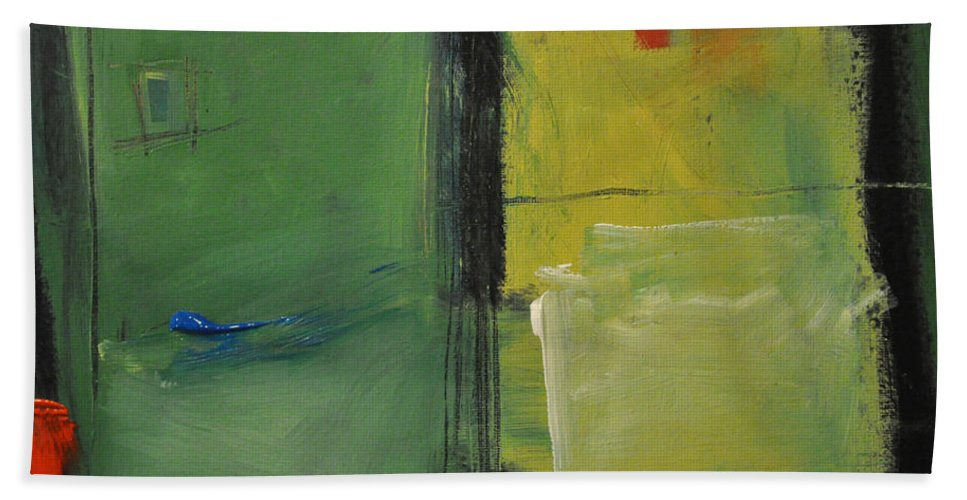 Rothko Bath Sheet featuring the painting Conversation With Rothko by Tim Nyberg