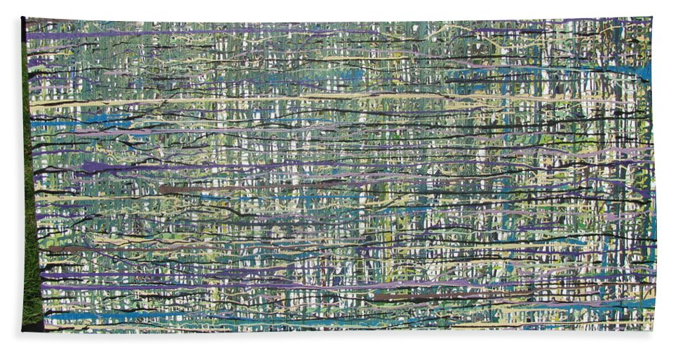 Bath Sheet featuring the painting Convoluted by Jacqueline Athmann