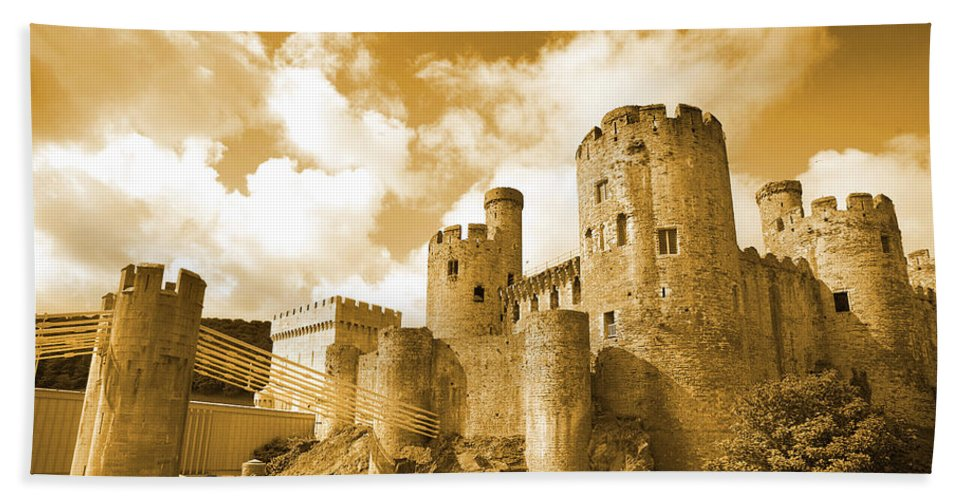 Castle Hand Towel featuring the photograph Conwy Castle And The Telford Suspension Bridge North Wales by Mal Bray