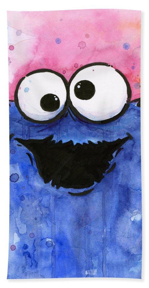 Cookie Bath Towel featuring the painting Cookie Monster by Olga Shvartsur