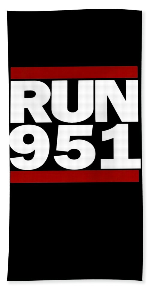 Area-code-apparel Hand Towel featuring the digital art 951 Design Run California Gifts 951 Shirt by Funny4You
