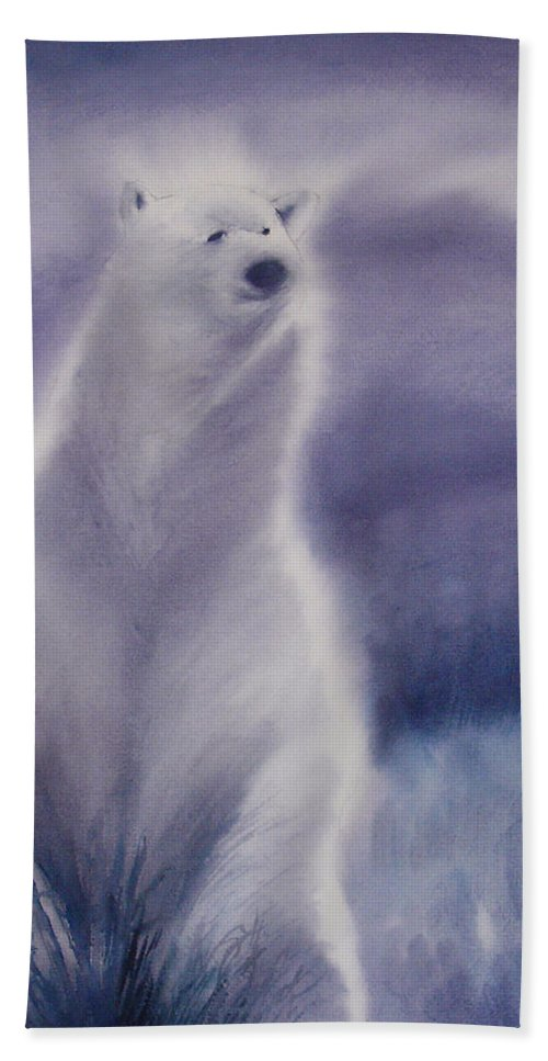 Bear Bath Towel featuring the painting Cool Bear by Allison Ashton