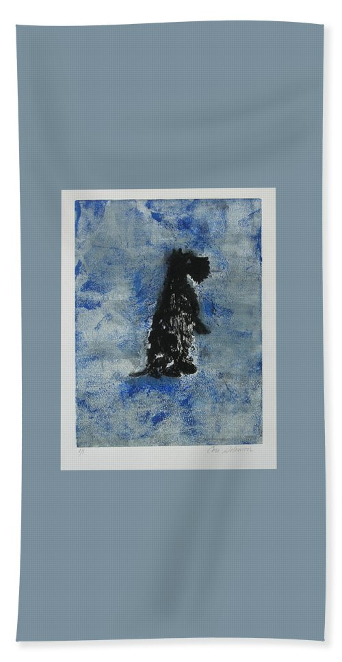 Monotype Hand Towel featuring the mixed media Cool Blue by Cori Solomon