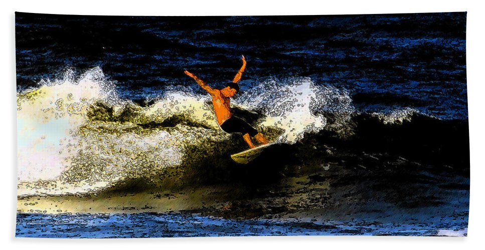 Surfing Hand Towel featuring the painting Cool Dude by David Lee Thompson