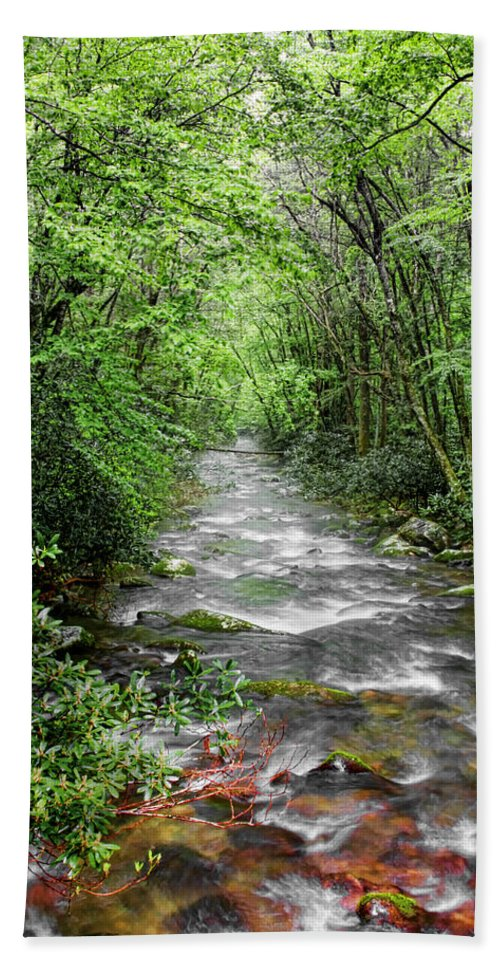 Water Green Stream Creek Flowing Water Park Nature Wild River Trees Forest Bath Sheet featuring the photograph Cool Green Stream by Shari Jardina
