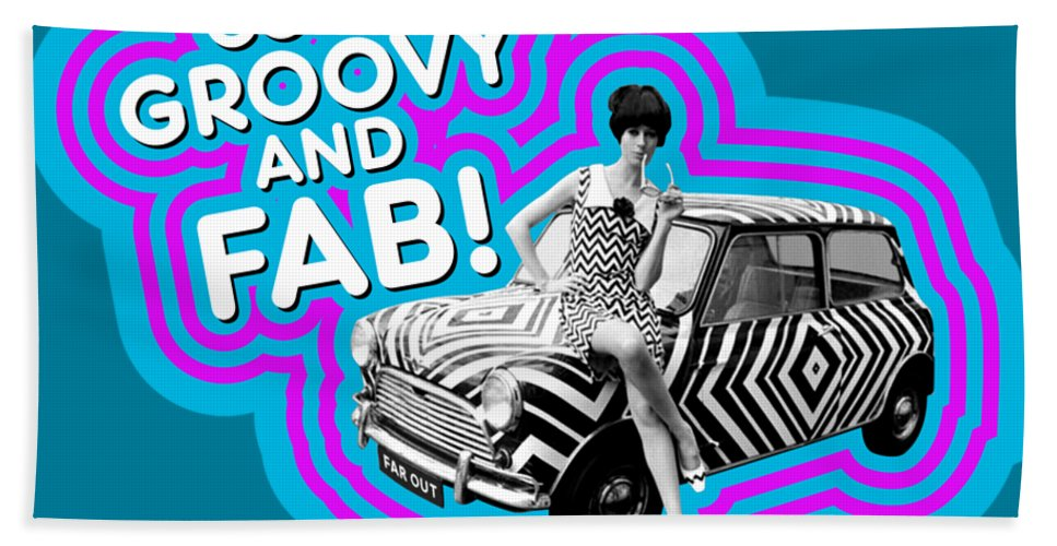 Far Out Bath Sheet featuring the digital art Cool, Groovy And Fab by David Richardson