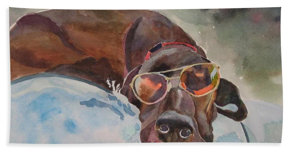 Dog Hand Towel featuring the painting Cool Lab With Sunglasses by Brenda Kennerly