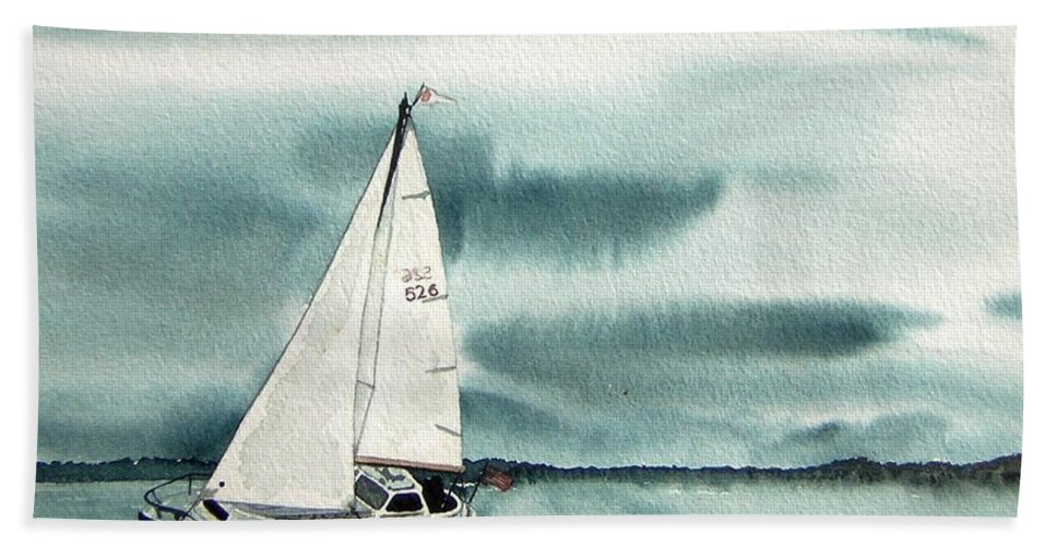 Sailing Bath Towel featuring the painting Cool Sail by Gale Cochran-Smith