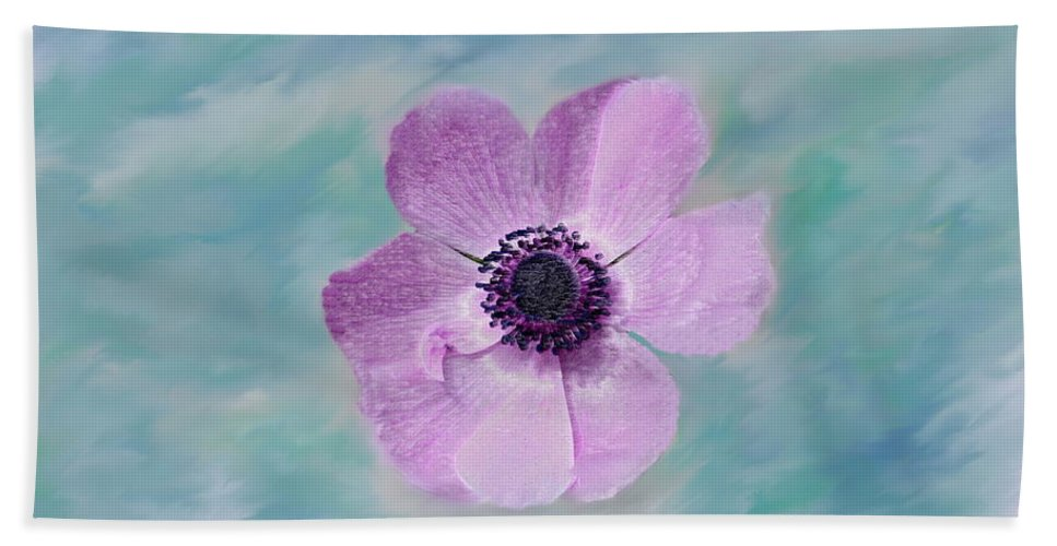 Flowers Floral Macro Nature Gardens Pink Purple Blue Green White Petals Spring Flowers Bath Sheet featuring the photograph Cool Spring by Linda Sannuti
