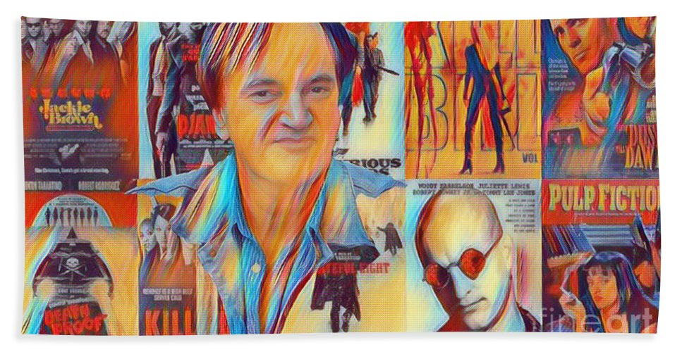 Quentin Bath Sheet featuring the photograph Cool Tarantino by Pd