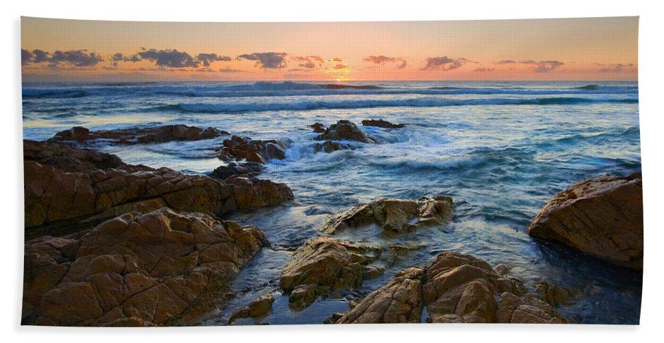 Seascape Bath Sheet featuring the photograph Coolum Dawn by Mike Dawson