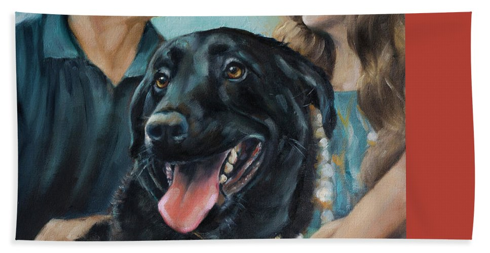 Scotty Hand Towel featuring the painting Cooper The Scottie by Julie Dalton Gourgues