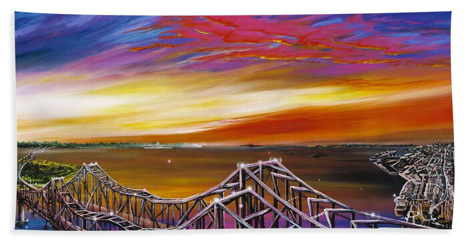 Clouds Hand Towel featuring the painting Cooper River Bridge by James Christopher Hill