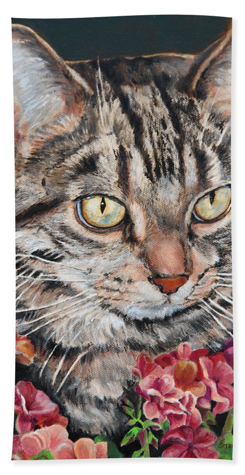 Cat Hand Towel featuring the painting Cooper The Cat by Portraits By NC