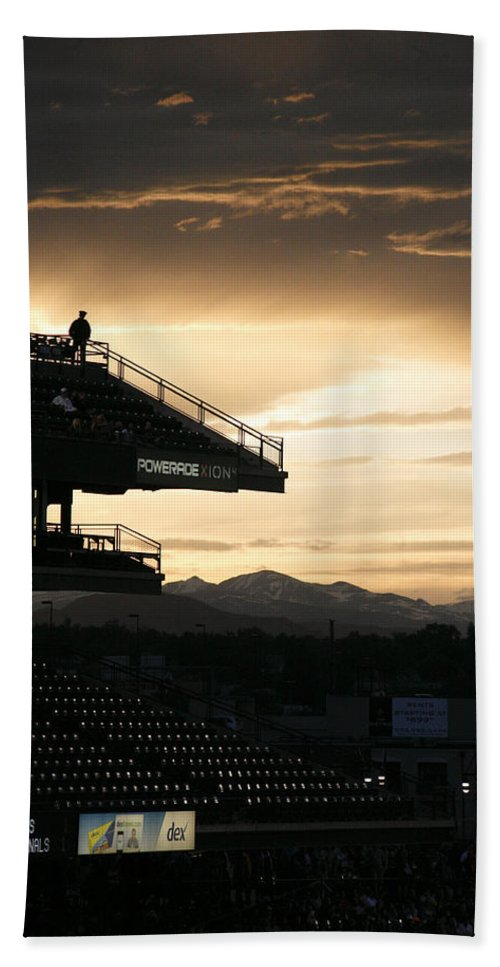 Americana Hand Towel featuring the photograph Coors Field At Sunset by Marilyn Hunt