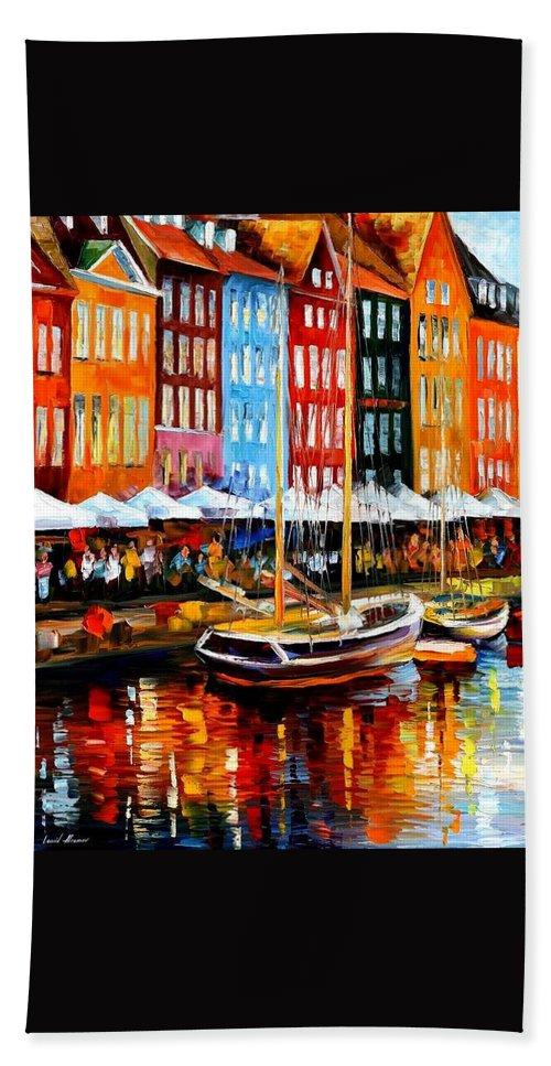 Afremov Hand Towel featuring the painting Copenhagen Denmark by Leonid Afremov