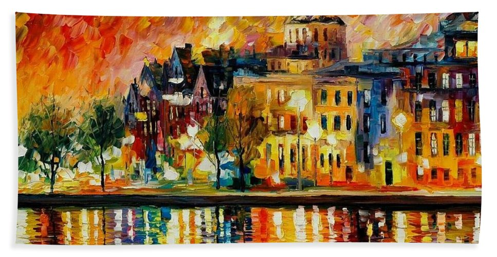 City Hand Towel featuring the painting Copenhagen Original Oil Painting by Leonid Afremov