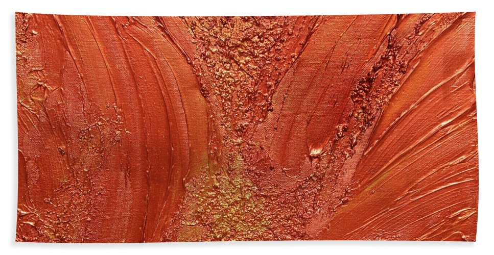 Abstract Hand Towel featuring the photograph Copper Abstract by Julia Fine Art