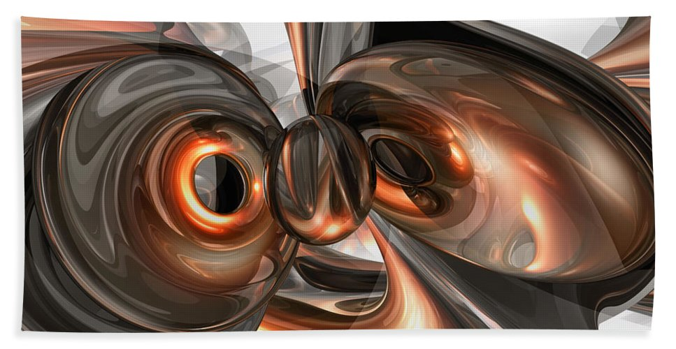3d Bath Sheet featuring the digital art Copper Dreams Abstract by Alexander Butler