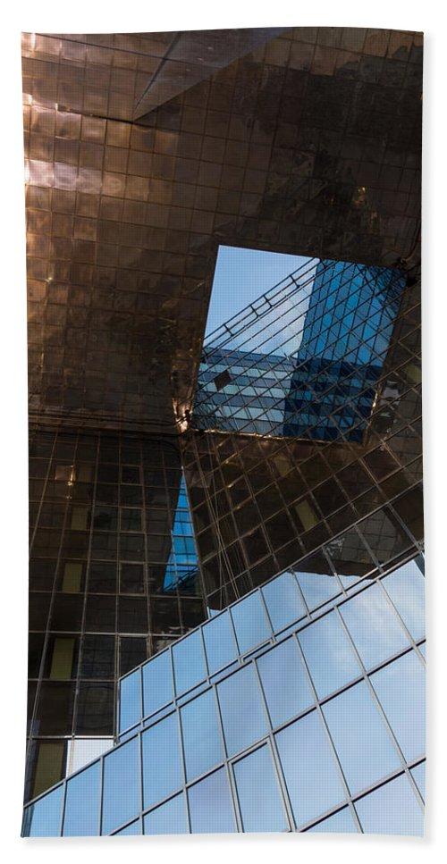 Georgia Mizuleva Bath Sheet featuring the photograph Copper Glass And Steel Geometry - Fabulous Modern Architecture In London U K by Georgia Mizuleva