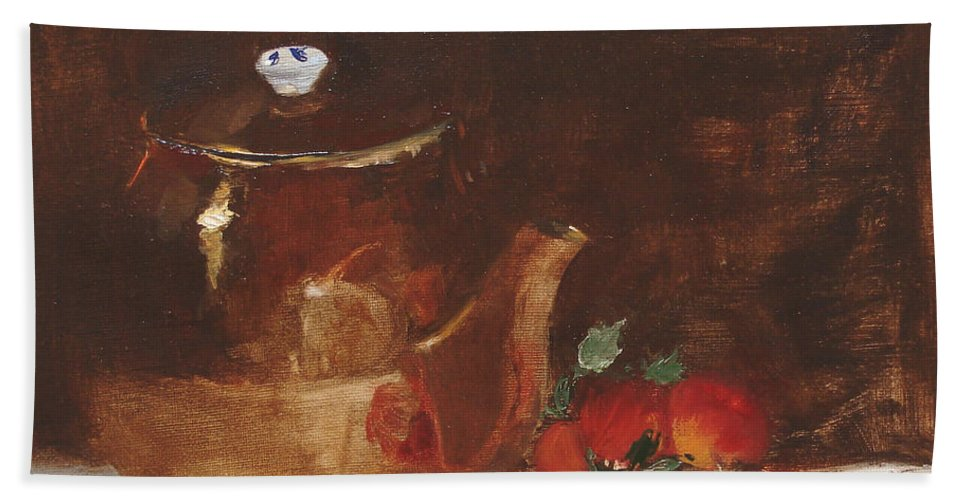Kitchen Hand Towel featuring the painting Copper Kettle by Barbara Andolsek