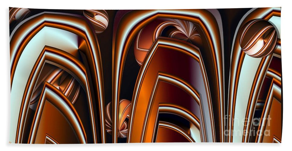 Abstract Hand Towel featuring the digital art Copper Shields by Ron Bissett