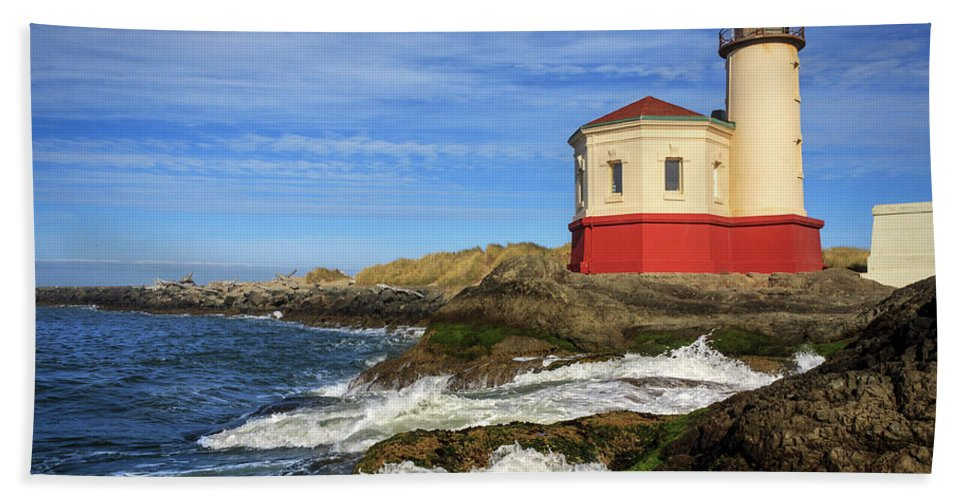 Coquille River Bath Sheet featuring the photograph Coquille River Lighthouse At Bandon by James Eddy