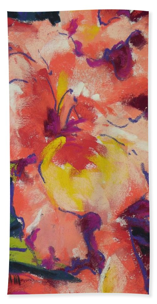 Flower Bath Towel featuring the painting Coral Glad by Mary McInnis