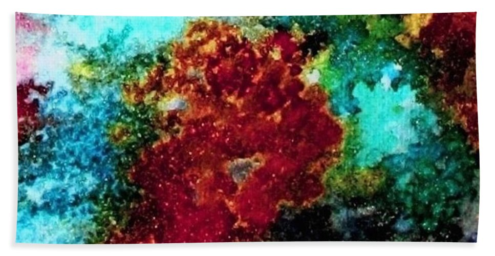 Coral Reef Hand Towel featuring the painting Coral Reef Impression 15 by Hazel Holland