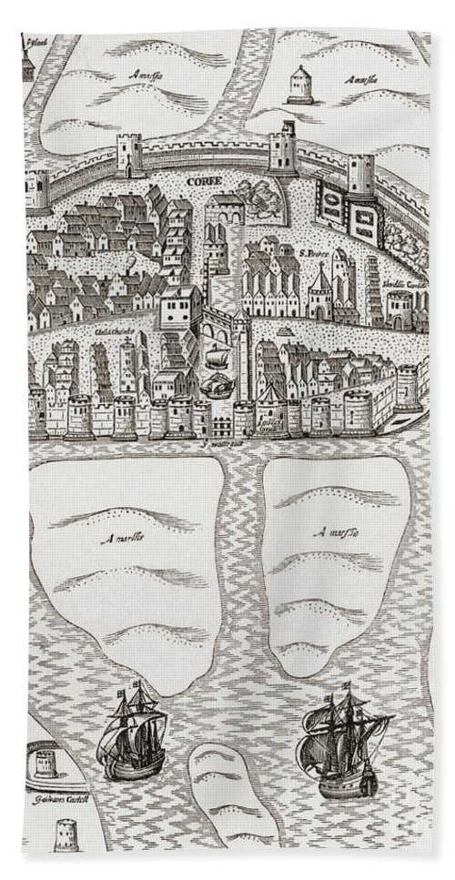 Cork Bath Sheet featuring the drawing Cork, County Cork, Ireland In 1633 by Irish School