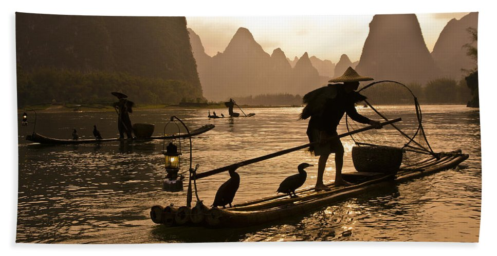 Asia Bath Towel featuring the photograph Cormorant Fishermen at Sunset by Michele Burgess