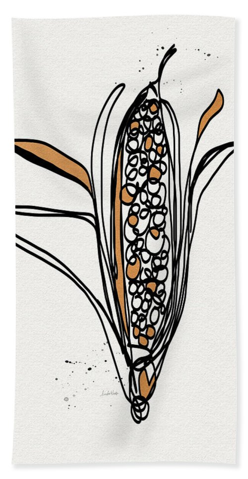 Corn Hand Towel featuring the drawing corn- contemporary art by Linda Woods by Linda Woods