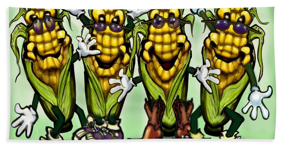 Corn Bath Sheet featuring the digital art Corn Party by Kevin Middleton