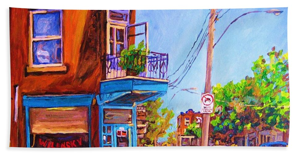 Wilenskys Corner Fairmount And Clark Bath Towel featuring the painting Corner Deli Lunch Counter by Carole Spandau