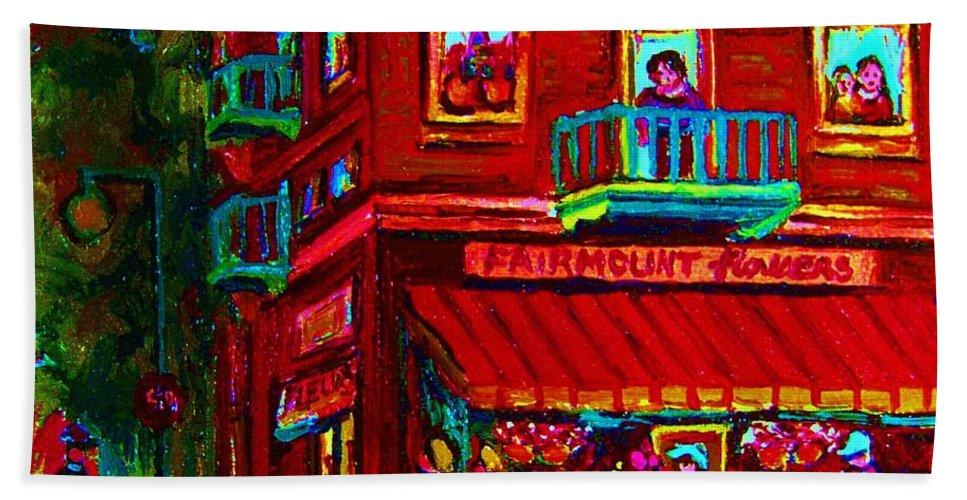 Flowershop Hand Towel featuring the painting Corner Flowershop by Carole Spandau