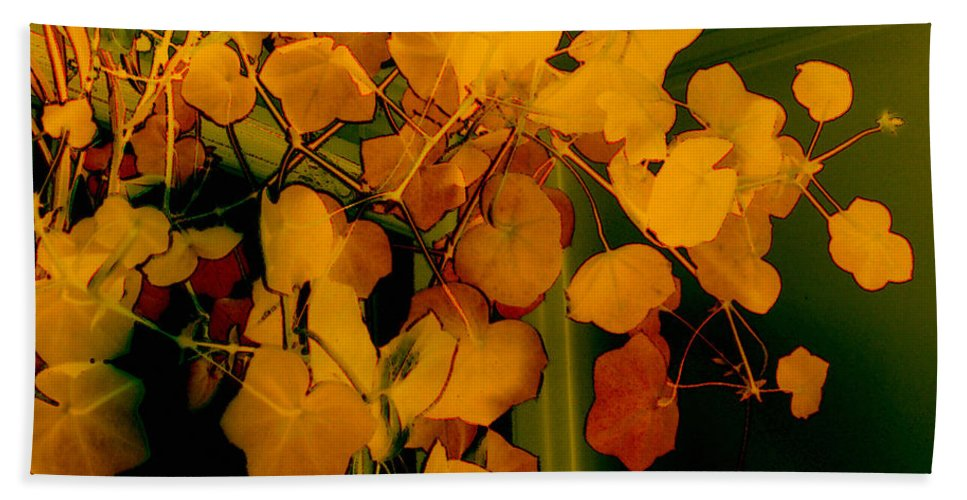 Autumn Hand Towel featuring the digital art Corner In Green And Gold by RC DeWinter